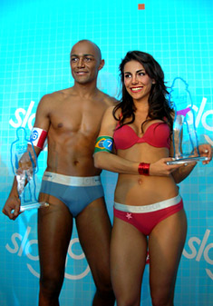 "The best bottoms in the world – the winners in the contest of ""Sloggi"" Melanie Nunes Fronckowiak from Brazil and Saiba Bombote from France"