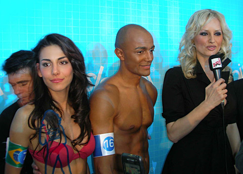 "Melanie Nunes Fronckowiak, Saiba Bombote and Adriana Karembeu after the announcement of the results from the contest ""Sloggi"""