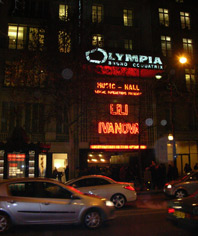 The neon facade of Olympia Hall in Paris in the night of 9th January 2009