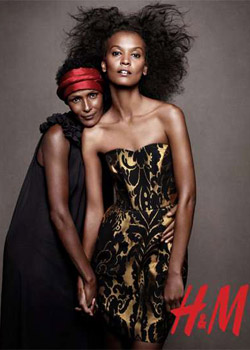 H&M Holiday 2010 campaign featuring Liya Kebede, Waris Dirie, Stella Tennant and more