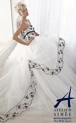 Wedding dresses with feathers and black embroidery are a hit