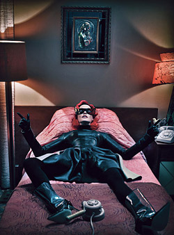 Linda Evangelista is shot like a superhero